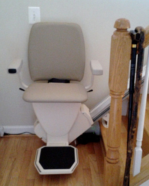 Stair lift in ready position