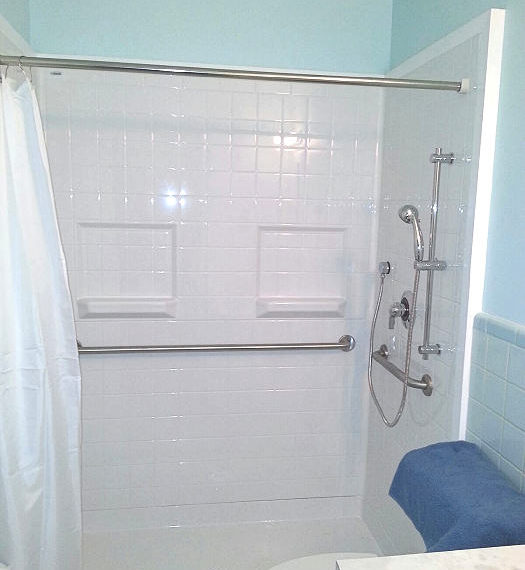 bath tub converted to shower