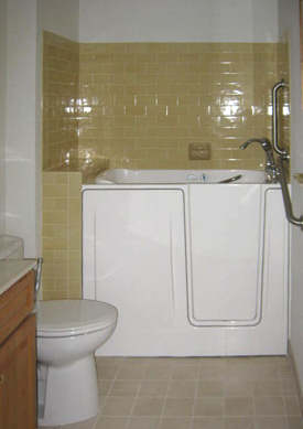 Walk-in tub with door open